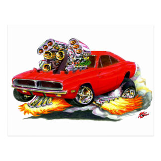 1968-70 Charger Red Car Postcard