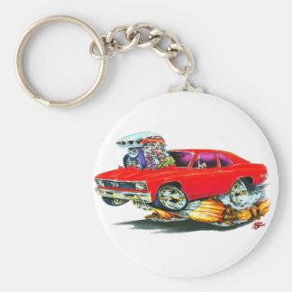 1968-70 Nova Red Car Basic Round Button Key Ring