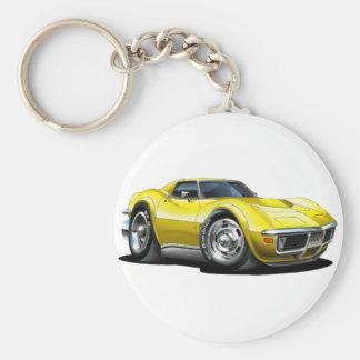 1968-72 Corvette Yellow Car Basic Round Button Key Ring