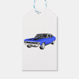 1968 Blue Muscle Car Gift Tags