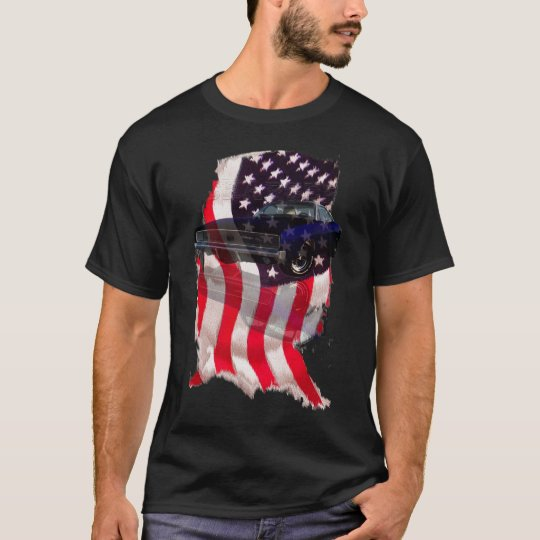 1968 Charger dodge USA flag muscle car T-Shirt