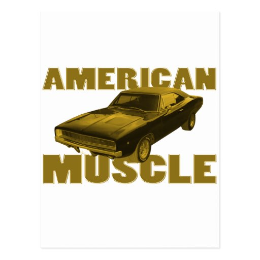 1968 charger golden american muscle post cards