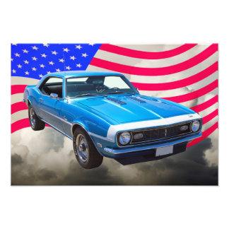 1968 Chevrolet Camaro And American Flag Photo