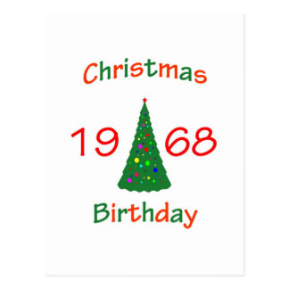 1968 Christmas Birthday Postcard