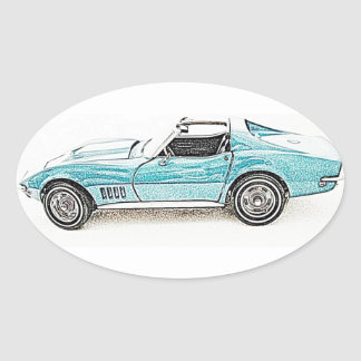 1968 Classic Sports Car Oval Sticker