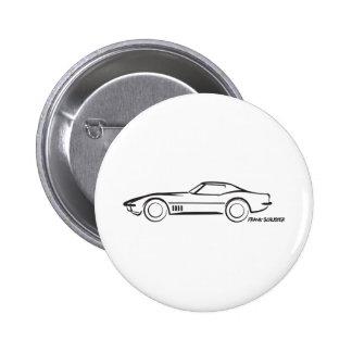 1968 Corvette Hardtop BLK 6 Cm Round Badge