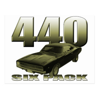1968 dodge charger 440 six pack post card