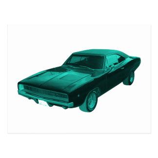 1968 dodge charger blue mopar postcard