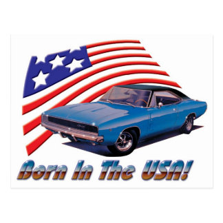 "1968 Dodge Charger ""Born in the USA"" Postcard"