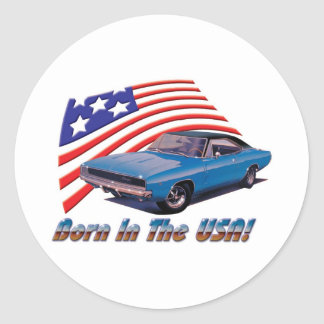 1968 Dodge Charger Born in the USA Round Sticker