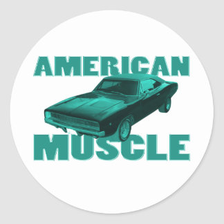 1968 dodge charger r/t american muscle blue round sticker