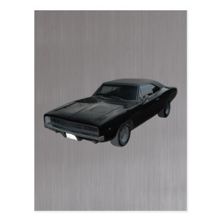 1968 dodge charger r/t mopar brushed steel postcard