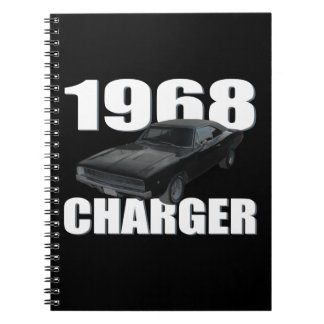 1968 dodge charger rt black spiral note book