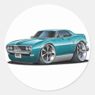 1968 Firebird Teal Car Classic Round Sticker