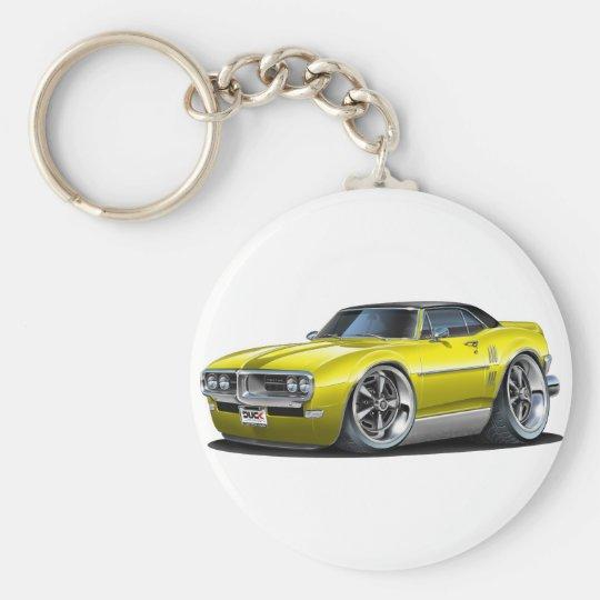 1968 Firebird Yellow-Black Car Basic Round Button Key Ring