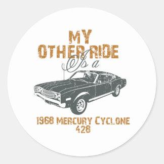 1968 Ford Mercury Cyclone 428 Cobra Jet Round Stickers