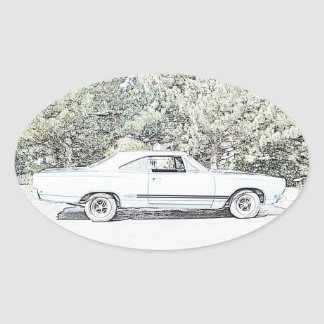 1968 Muscle Car Oval Sticker