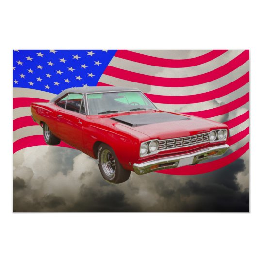 1968 Plymouth Roadrunner And American Flag Poster