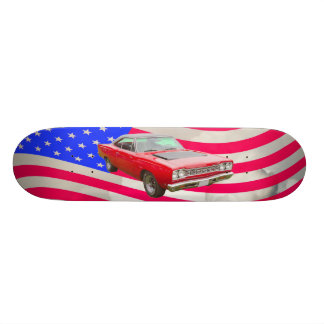 1968 Plymouth Roadrunner And American Flag Skateboards