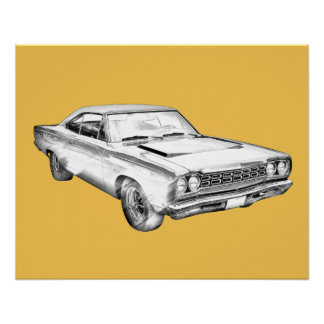 1968 Plymouth Roadrunner Muscle Car Illustration Poster
