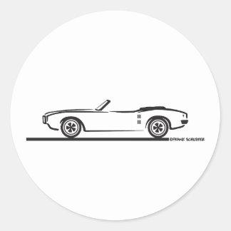 1968 Pontiac Firebird Convertible Round Sticker