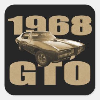 1968 Pontiac GTO Muscle Car Gold Square Sticker