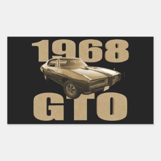 1968 Pontiac GTO Muscle Car Gold Rectangle Sticker