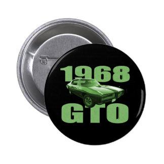 1968 Pontiac GTO Muscle Car Green 6 Cm Round Badge