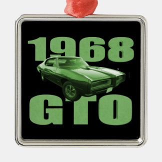 1968 Pontiac GTO Muscle Car Green Silver-Colored Square Decoration