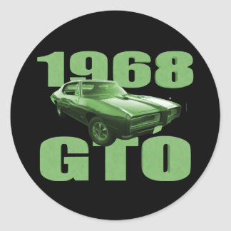 1968 Pontiac GTO Muscle Car Green Round Stickers