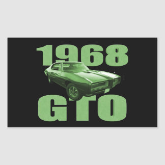1968 Pontiac GTO Muscle Car Green Rectangle Stickers