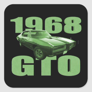 1968 Pontiac GTO Muscle Car Green Square Sticker