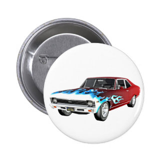 1968 Red White and Blue Muscle Car 6 Cm Round Badge