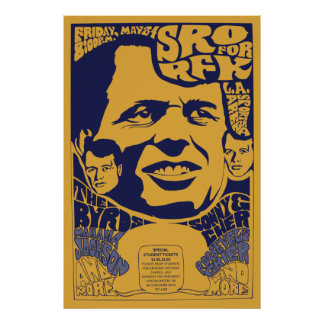 1968 Standing Room Only RFK Psychedelic Poster