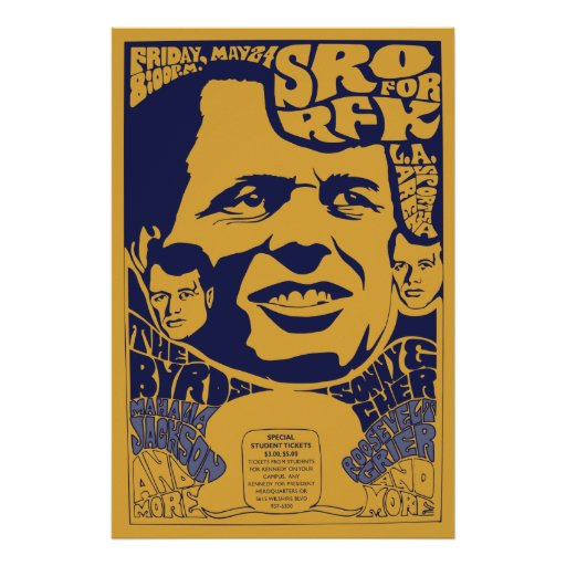 """1968 """"Standing Room Only"""" RFK Psychedelic Poster"""