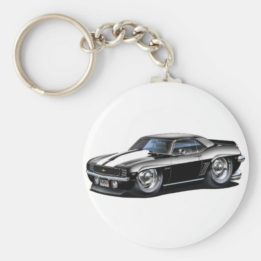 1969 Camaro Black-White Car Basic Round Button Key Ring