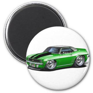 1969 Camaro Green-Black Top Car 6 Cm Round Magnet