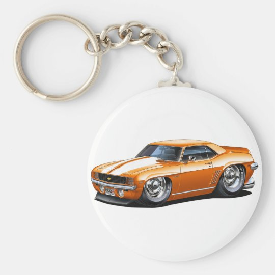1969 Camaro Orange-White Car Basic Round Button Key Ring