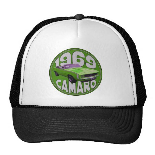 1969 Camaro SS Lime Machine Trucker Hats