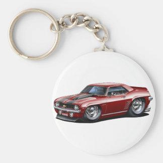 1969 Camaro SS Maroon-Black Car Basic Round Button Key Ring