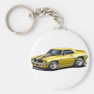 1969 Camaro SS Yellow-Black Car Basic Round Button Key Ring