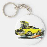 1969 Camaro SS Yellow-Black Convertible Basic Round Button Key Ring
