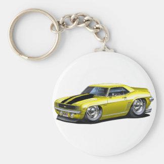 1969 Camaro Yellow-Black Car Basic Round Button Key Ring