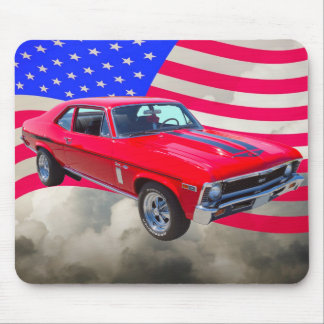 1969 Chevrolet Nova 427 With American Flag Mouse Mat