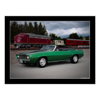 1969 Chevy Camaro Convertible Muscle Car Poster