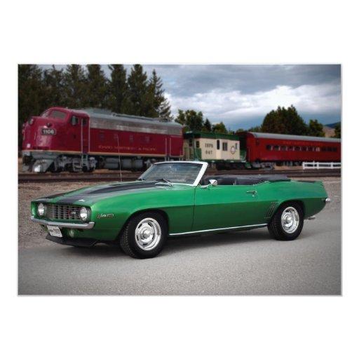 "1969 Chevy Camaro Rag Top Muscle Car Invitations 5"" X 7"" Invitation Card"