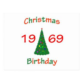1969 Christmas Birthday Postcard