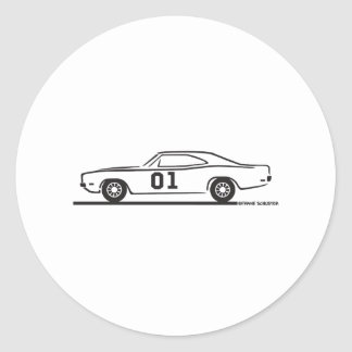 1969 Dodge Charger General Lee Round Sticker