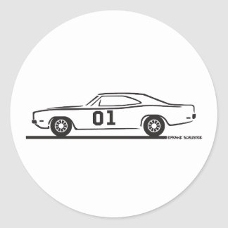 1969 Dodge Charger General Lee Round Stickers