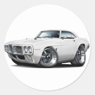 1969 Firebird White Car Round Sticker
